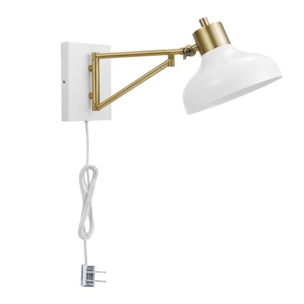 Globe Electric Berkeley 1-Light White and Brass Plug-In or Hardwire Swing Arm