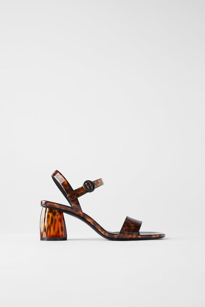 Zara Tortoisehsell Chunky Heel Sandals