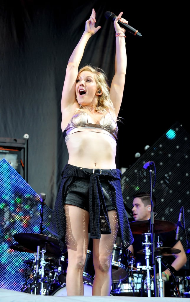 Ellie Goulding bared her midriff during a performance at the Glastonbury Festival in England on Sunday.
