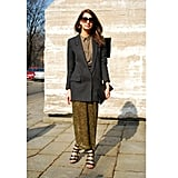 "At Spring 2012 Milan Fashion Week, a floaty maxi skirt was grounded with the addition of a boyfriend blazer and prim button-up.  Shop the look: <iframe src=""http://widget.shopstyle.com/widget?pid=uid5121-1693761-41&look=4300387&width=3&height=3&layouttype=0&border=0&footer=0"" frameborder=""0"" height=""244"" scrolling=""no"" width=""286""></iframe> Photo: Stylesight"