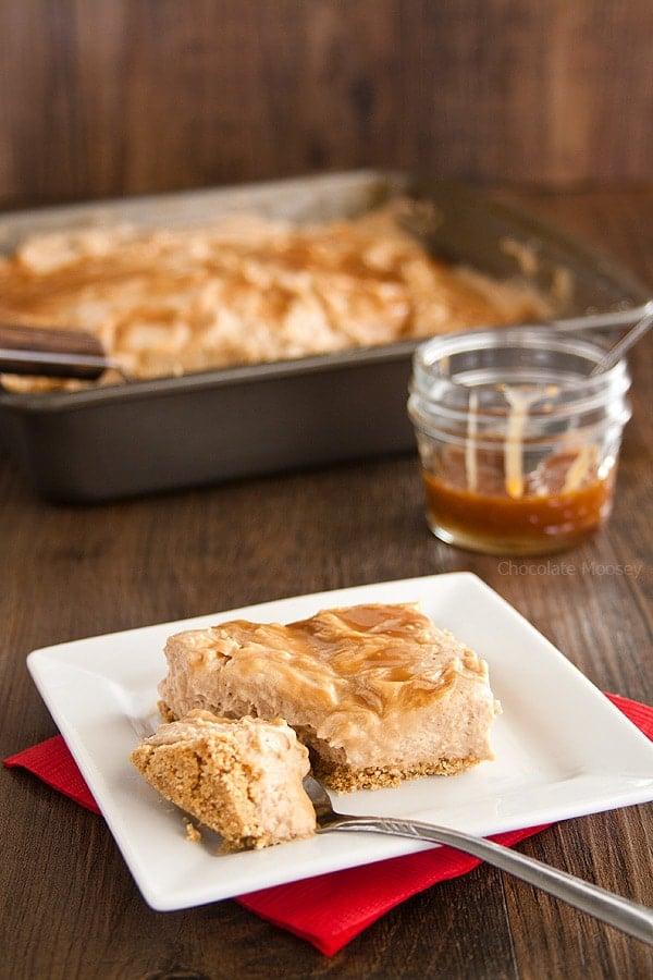 No Bake Caramel Swirl Apple Butter Cheesecake