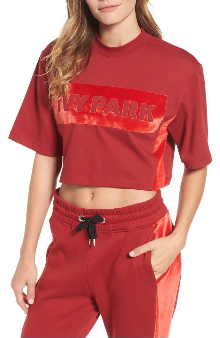 ivy park velvet logo crop sweatshirt best ivy park. Black Bedroom Furniture Sets. Home Design Ideas