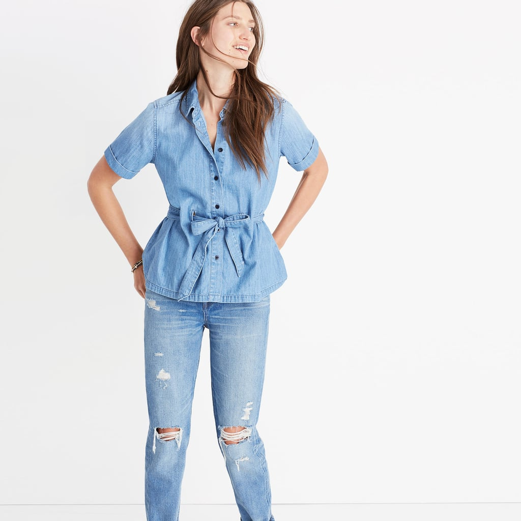 Madewell's Denim Tie-Waist Shirt ($75) is soft and comes in a very classic wash.