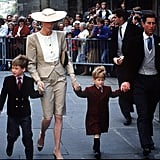 Both boys had their mother's hand when they attended a wedding in Bath in 1989.