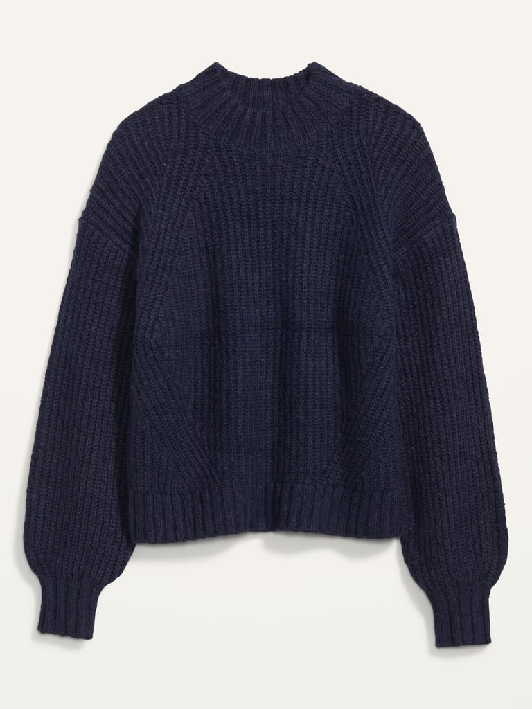 Old Navy Cozy Shaker-Stitch Mock-Neck Sweater