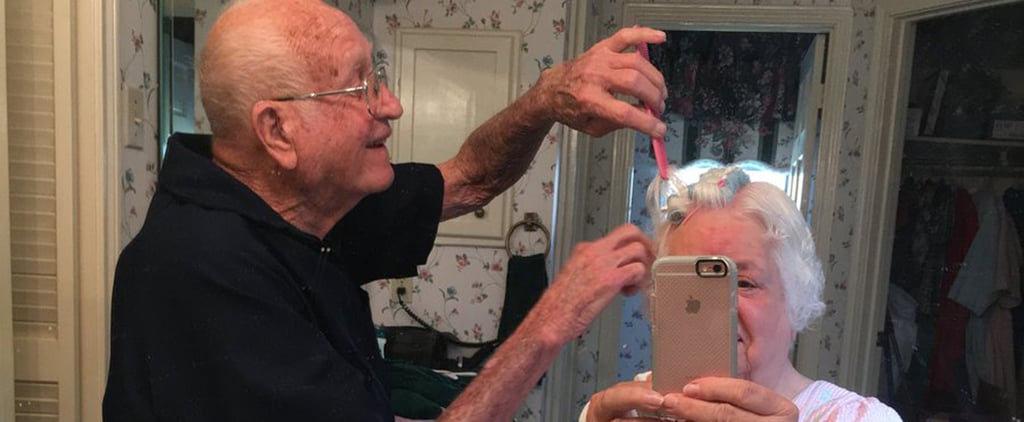 After His Wife Had Wrist Surgery, This Sweet Grandfather Helped Her Do Her Hair