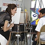 Kate Middleton spent time in the Skid Row section of LA during the royal couple's North American tour in July 2011, including a visit to the Inner City Arts campus. She and William painted pictures with the class and chatted with students between brushstrokes.