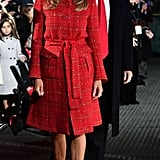 Melania Wore a Red Tweed Chanel Coat