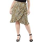 Ruffle-Hem Tie-Waist Wrap Leopard Skirt