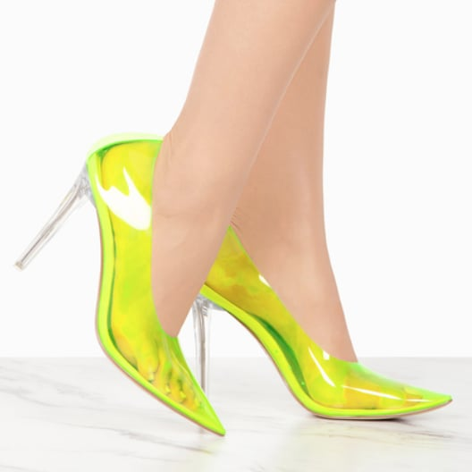 cefef5f1ffd1 Cape Robbin Neon Lime Yellow Transparent Heels