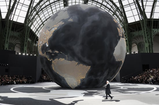 Karl Lagerfeld on the Globe From Chanel's Fall 2013 Show