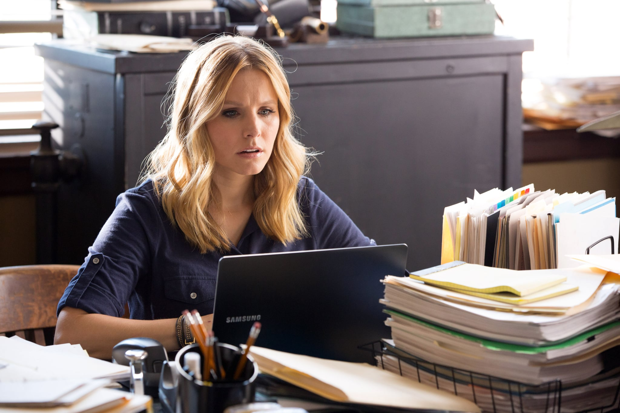 VERONICA MARS, Kristen Bell, 2014. ph: Robert Voets/Warner Bros. Pictures/courtesy Everett Collection