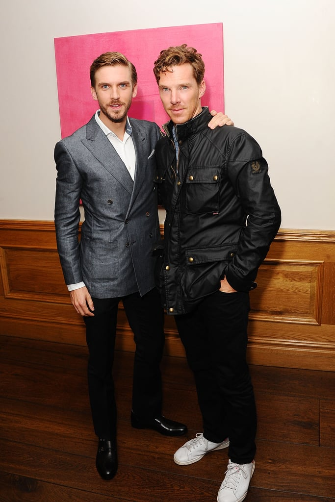 Fresh off his Emmy win, Benedict Cumberbatch was looking very handsome when he dropped by a screening for The Guest at the Soho Hotel in London on Monday. The actor was at the event to support his Fifth Estate costar and friend Dan Stevens, who most people know from his time playing Matthew Crawley from Downton Abbey. The pair may reunite very soon as they are both taking their projects (Dan with The Guest and Benedict with The Imitation Game) to the Toronto International Film Festival, which kicks off on Thursday. The Imitation Game has already been winning high praise on the festival circuit, including at the Telluride Film Festival where it sparked quite a bit of Oscar buzz. While another award season may be in Benedict's future, what isn't clear is if he can win the most controversial battle of our time — the geek heartthrob contest between himself and his friend Tom Hiddleston. Don't forget to cast your vote today!