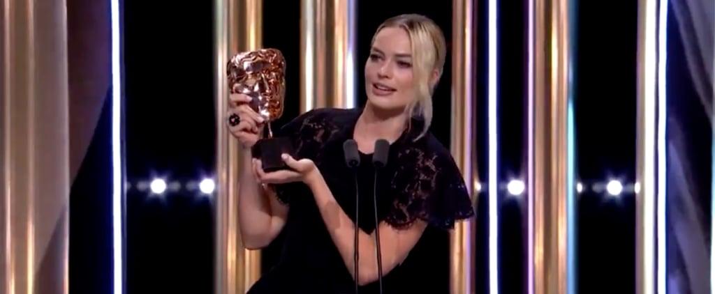 BAFTAs 2020: Margot Robbie Reads Brad Pitt's Speech