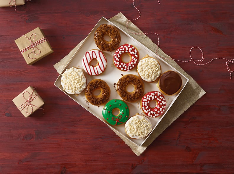 A box of the holiday doughnuts is like a present waiting to be unwrapped.