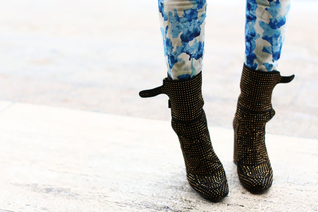 Aimee Song complemented her statement pants with studded boots.