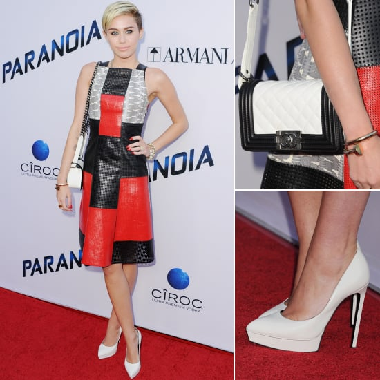 Celebrity Style: Miley Cyrus In Red, Black And White Dress