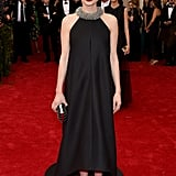 At the Met Gala, Carey stuck to black in a Balenciaga halter.