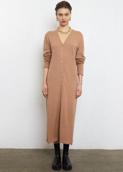 Terra-Cotta Knit Cardigan Dress
