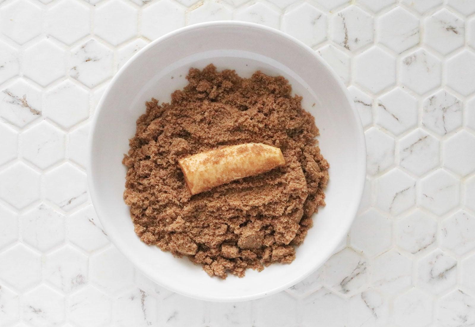 Roll plantain in brown sugar
