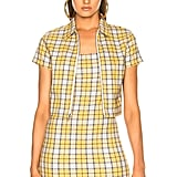 Miaou Raquel Zip Top in Yellow Plaid