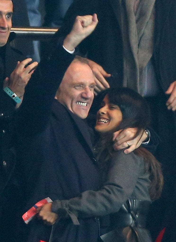 Salma Hayek and her husband, Francois-Henri Pinault, celebrated in the stands at a soccer match on Saturday. The duo attended the League 1 matchup between Paris Saint-Germain and Rennes in Paris, which Rennes won 2-1. Salma wrapped her arms around Francois-Henri during the game as they cheered from their seats.  Salma has been enjoying some time off of work since she made the rounds promoting Here Comes the Boom and Savages this Fall throughout Europe and the US. Salma will be back on the big screen in Grown Ups 2 this Summer, reprising her role opposite Kevin James, Adam Sandler, and Chris Rock. She finished filming the sequel in July. On her next movie, she'll be taking a behind-the-scenes role, coproducing an animated adaptation of Khalil Gibran's famed novel The Prophet.
