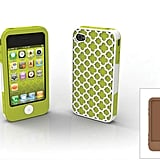 Barcelona iPhone 4/4S case with green apple or chocolate inner wraps and outer Barcelona pattern shell.