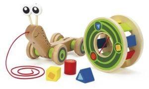Hape Toys Wooden Walk-A-Long Snail Toy