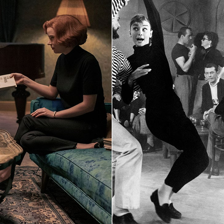 Audrey and Beth both mastered the black turtleneck with a cropped trouser and flat loafer.