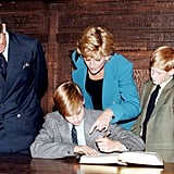 Prince Harry looked on with his parents, Prince Charles and Princess Diana, as Prince William signed in on his first day at Eton College in August 1997.