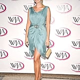 This pool blue is beautiful on Ivanka; delicate accessories polish off the majestic look.