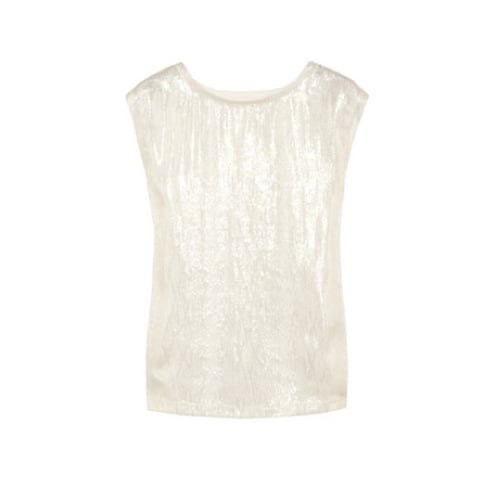 Speaking of white tops, this beautiful — and very versatile — Maje Serpentine Metallic-Flecked Silk and Jersey Top ($140) should be on the top of your holiday dressing shopping list.