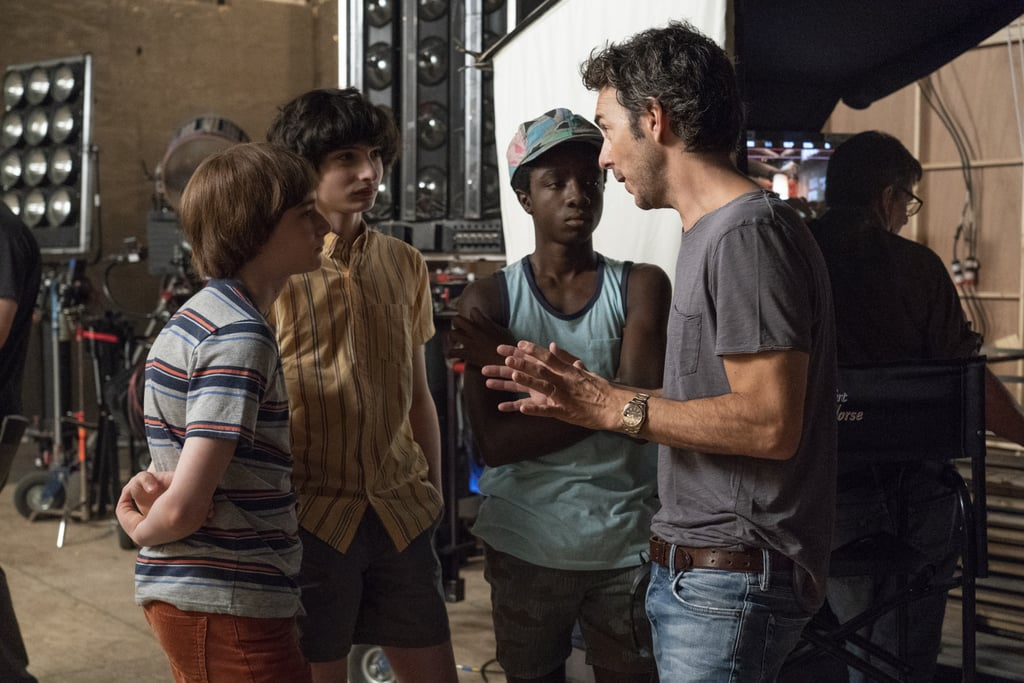 The cast and producer Shawn Levy on set.