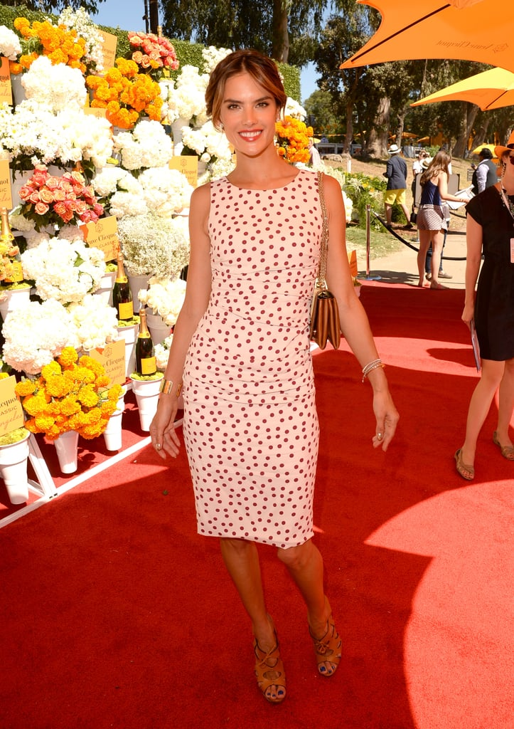 Alessandra Ambrosio was nothing short of darling in a Dolce & Gabbana polka-dot dress and a Kelly Wearstler cuff at the fourth annual Veuve Clicquot Polo Classic in Pacific Palisades, CA.