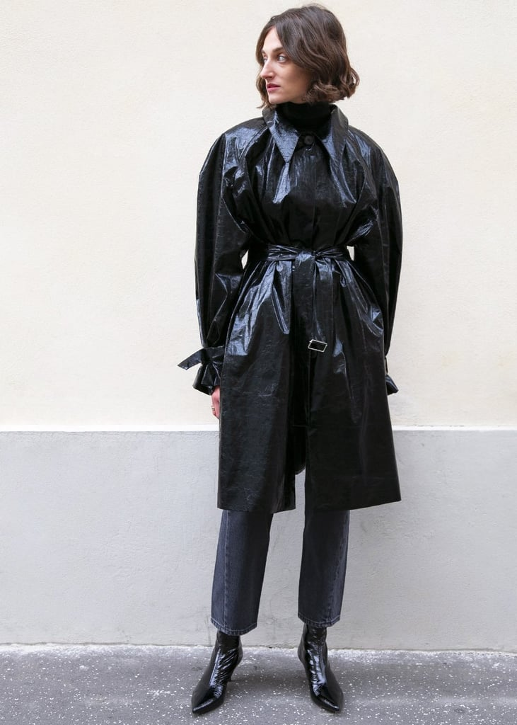 Frankie Crinkled Patent Belted Overcoat in Black