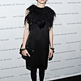 It was all about the textures for Sofia Coppola in a LBD with statement accessories.