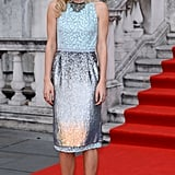 Matthew Williamson's iridescent cocktail dress was a pretty choice for Vanessa Kirby at the London premiere of About Time.