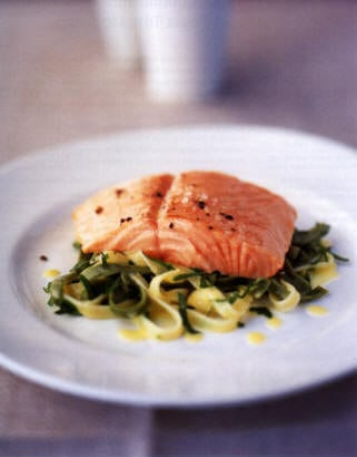 Sunday Dinner: Lemon Baked Salmon with Tagliatelle