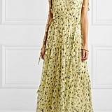 Lee Mathews Clementine Ruched Tiered Floral-Print Silk-Georgette Maxi Dress