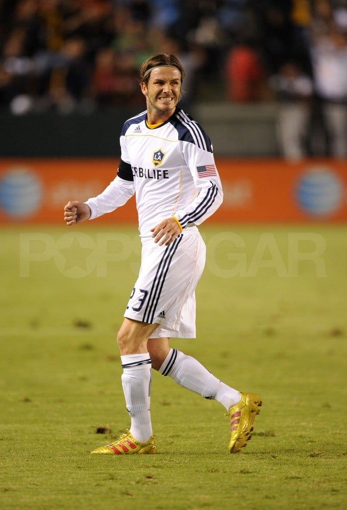 David Beckham took to the soccer field.