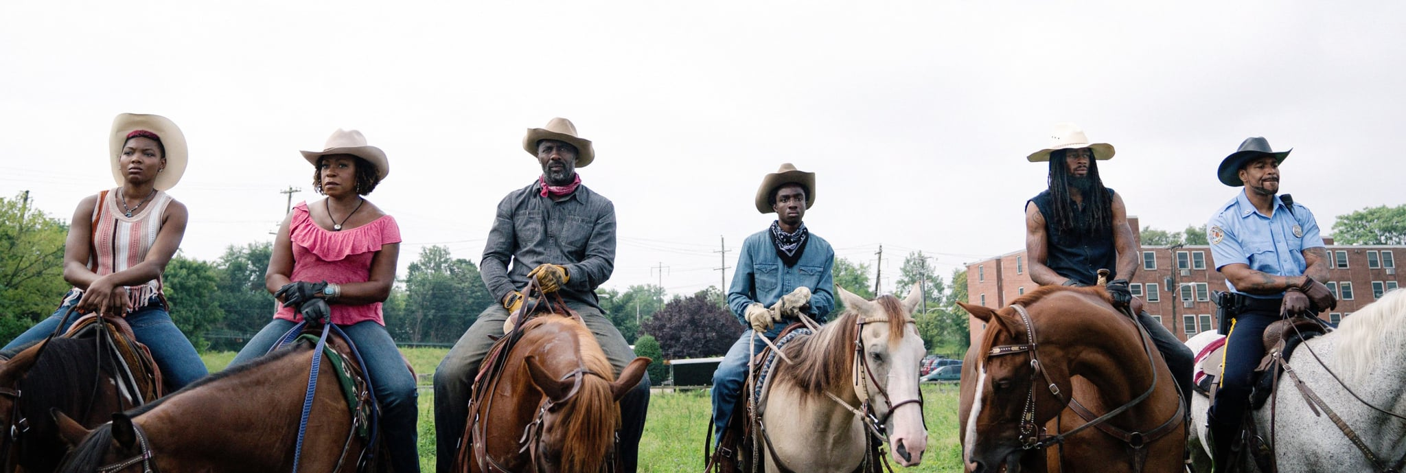CONCRETE COWBOY, from left: Ivannah-Mercedes, Lorraine Toussaint, Idris Elba, Caleb McLaughlin, Jamil Prattis, Method Man, 2020.  ph: Jessica Kourkounis / Netflix / Courtesy Everett Collection