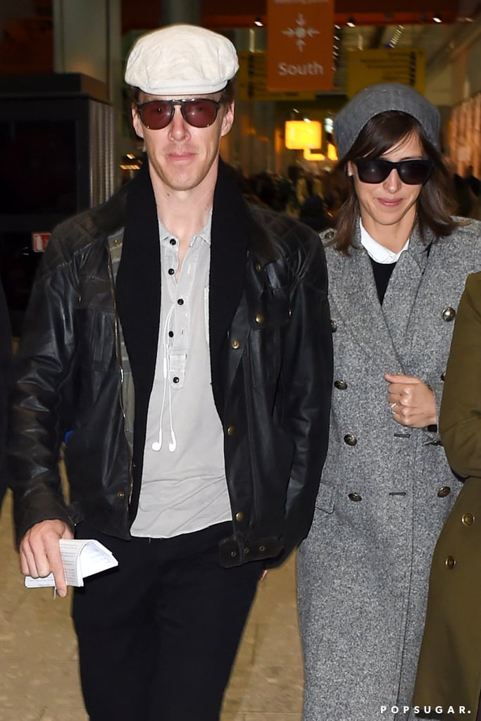Benedict Cumberbatch and Sophie Hunter at Heathrow Airport