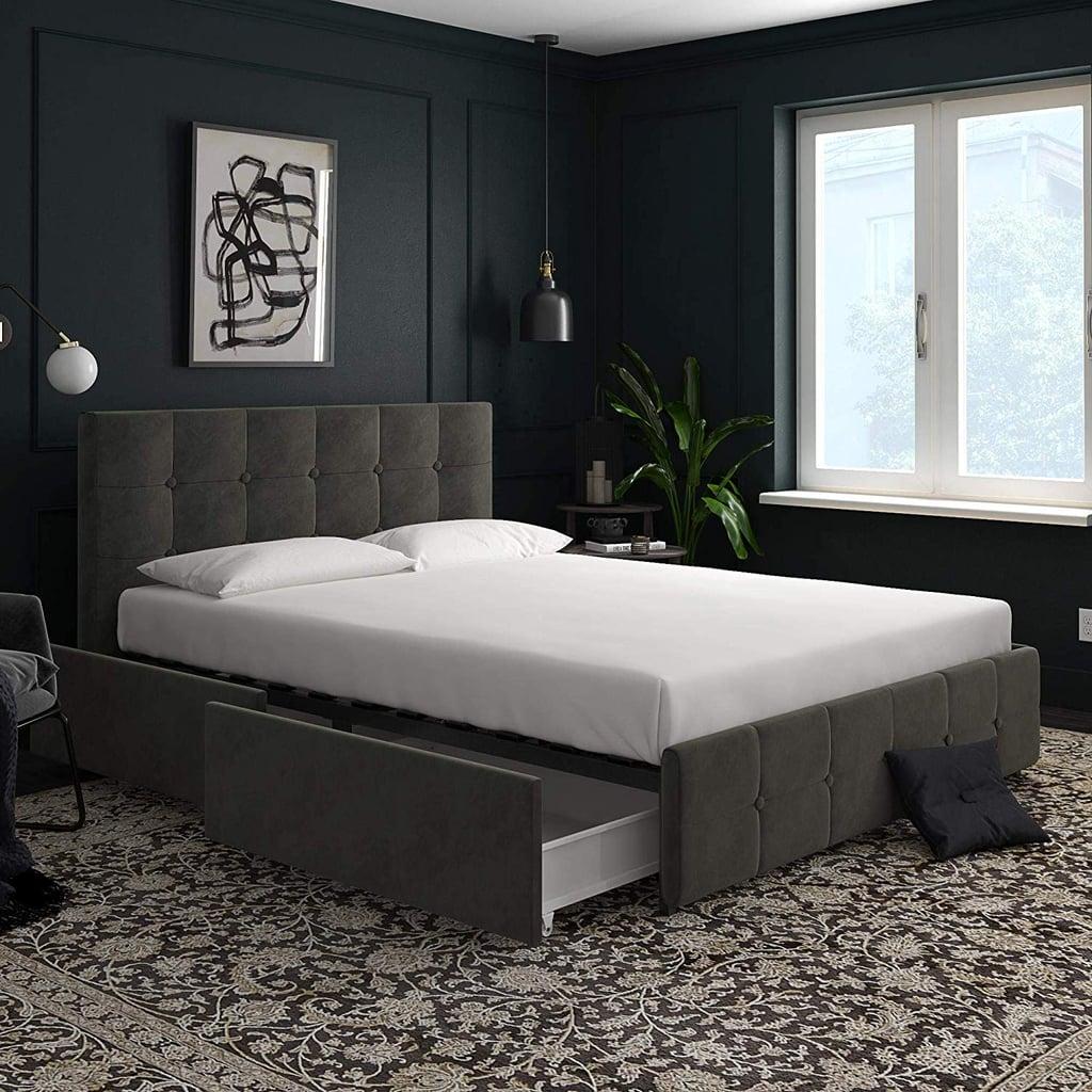 DHP Velvet-Queen Upholstered Bed