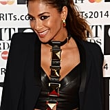 With all that drama going on with her outfit, Nicole opted for a simple textured ponytail and dramatic winged eye makeup for the 2014 Brit Awards.