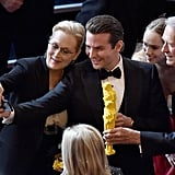 Oops! An unrelated photo of Meryl Streep taking a selfie with Bradley Cooper? Not sure how this one got in here.