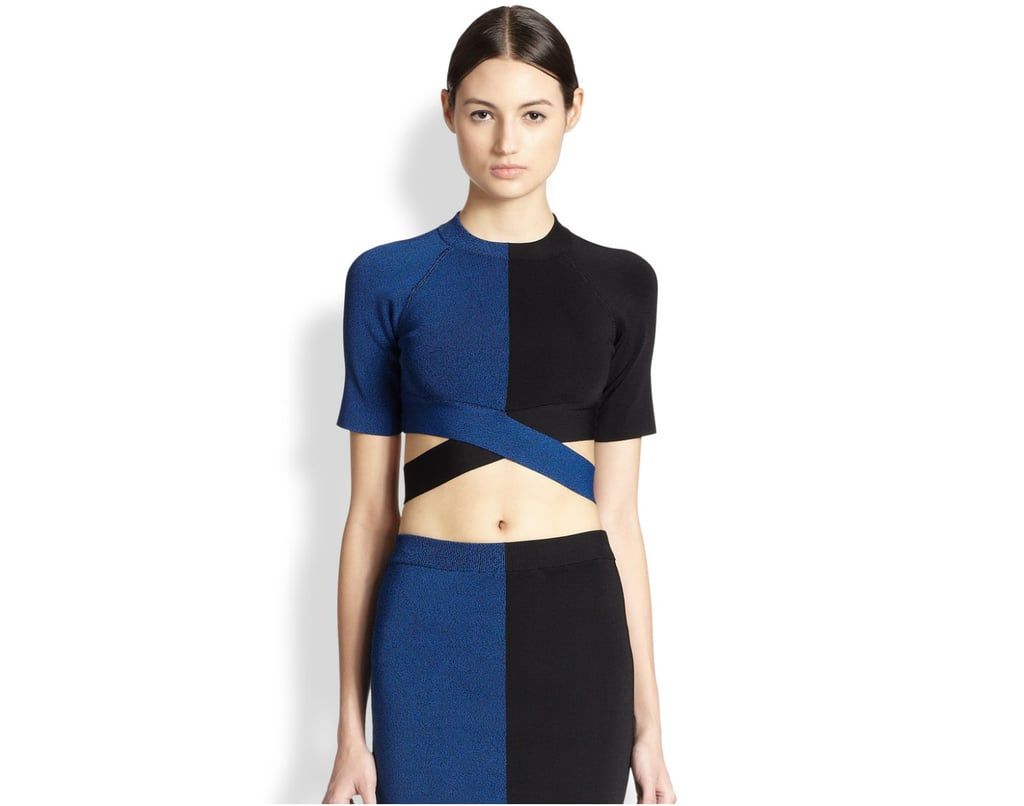 T by Alexander Wang Two-Tone Crossover Cutout Crop Top