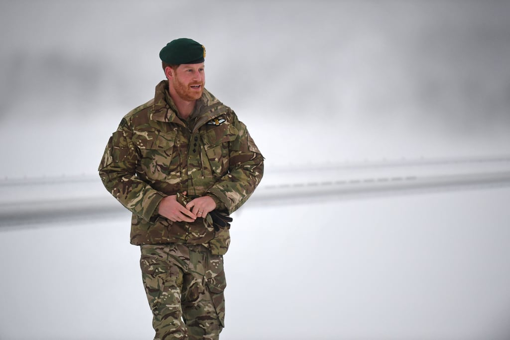 We hope Meghan's ready to get the kettle on, because when Prince Harry gets home from work, he's going to need warming up. The prince spent Valentine's Day in freezing temperatures, as he paid a visit 200 miles inside the Arctic Circle in northern Norway. Harry's visit was to celebrate the 50th anniversary of Exercise Clockwork, an elite training exercise that teaches military personnel how to operate, fight, and survive in extreme cold weather. Harry — who took over the role of Captain General of the Royal Marines in 2017 — arrived at the base in uniform, fitting right in as he met troops, and received a briefing on the operation. See all the photos from his trip ahead.      Related:                                                                                                           Oops, They Did It Again! Harry and Meghan Make Yet Another Glamorous Appearance