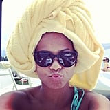 Christina Milian towel-dried her hair while hanging by the pool. Source: Instagram user christinamilian