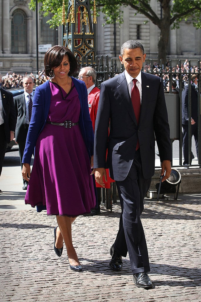 Michelle paired a Roksanda Ilincic dress with a Narciso Rodriguez coat for a visit to 10 Downing Street during a state visit in May 2011.
