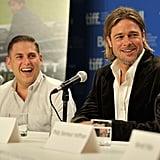 Brad Pitt and Jonah Hill shared a laugh.